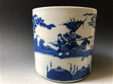A LARGE ANTIQUE BLUE AND WHITE PORCELAIN BRUSH POT ,