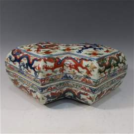 IMPERIAL CHINESE ANTIQUE WUCAI FAMILLE VERTE BOX -