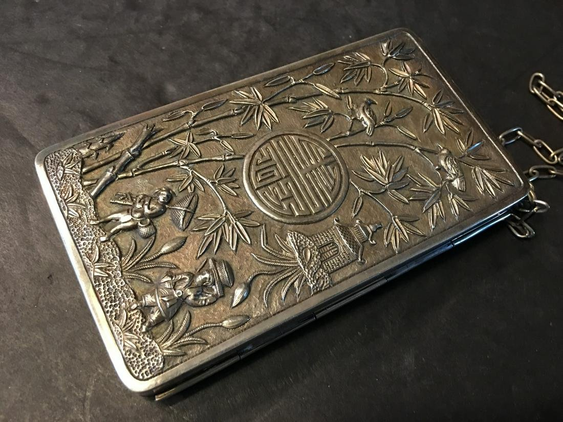 ANTIQUE Chinese Large Silver Box with Figurines and