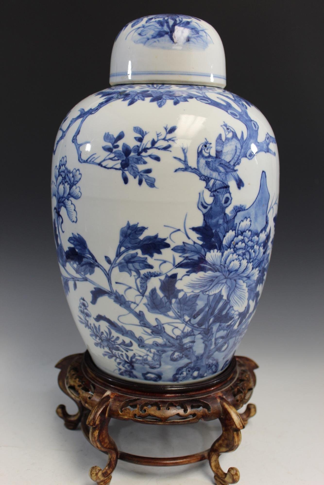 Chinese Antique Blue and White Porcelain Jar on Wood