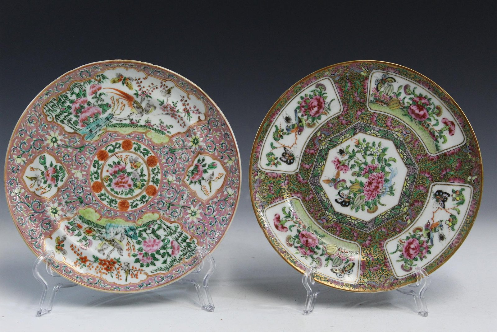 Two Chinese famille rose porcelain plates.