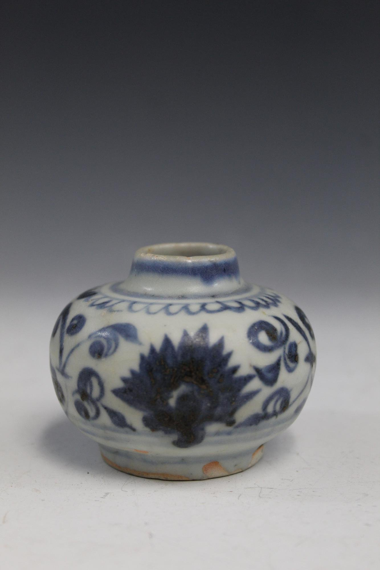 Chinese blue and white porcelain jar, Ming Dynasty.