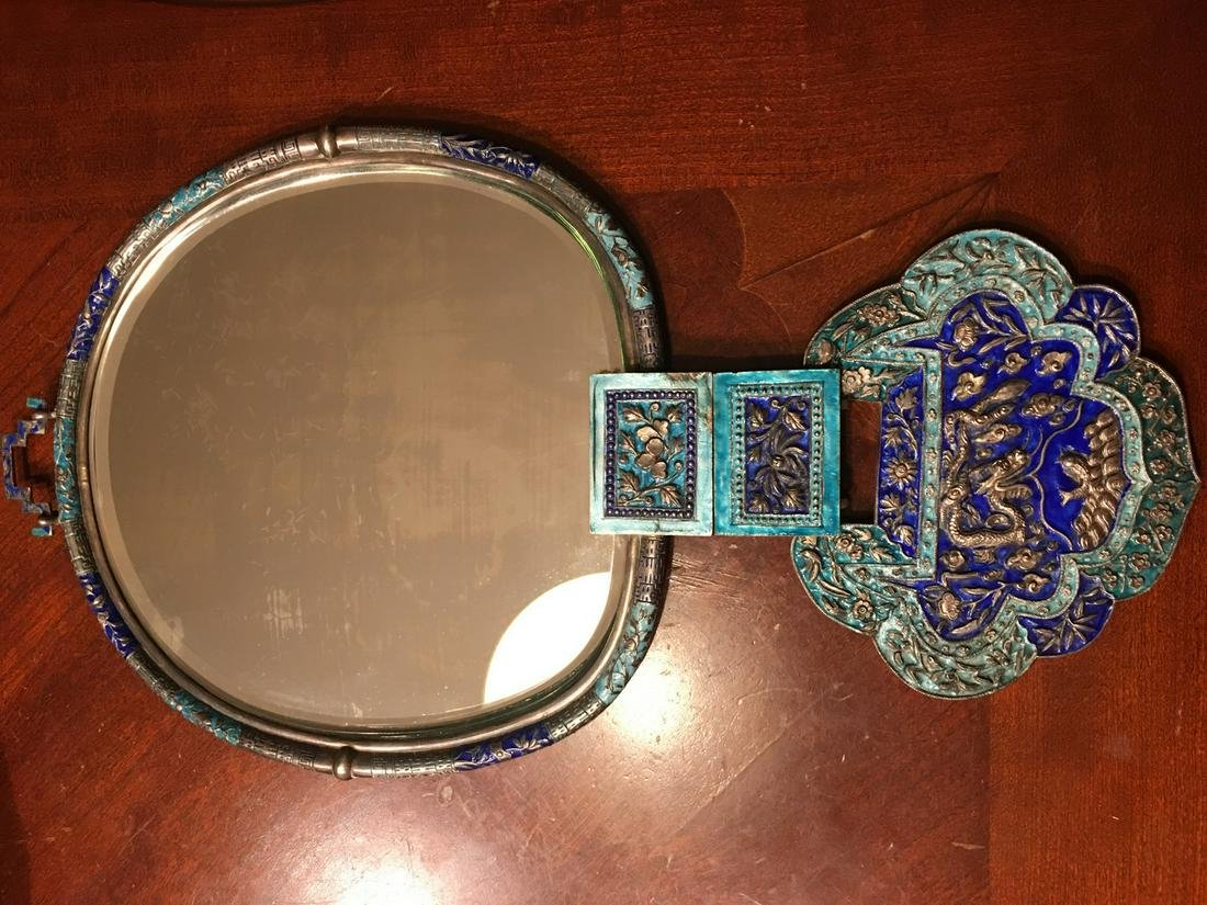 OLD Chinese Imperial Silver Enameled mirror, Qing. 16