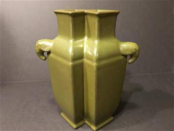 OLD Chinese Tea Dust Double Square Vase, Qianlong mark.