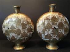 ANTIQUE Japanese large pair Satsuma Moon Flask Vases,