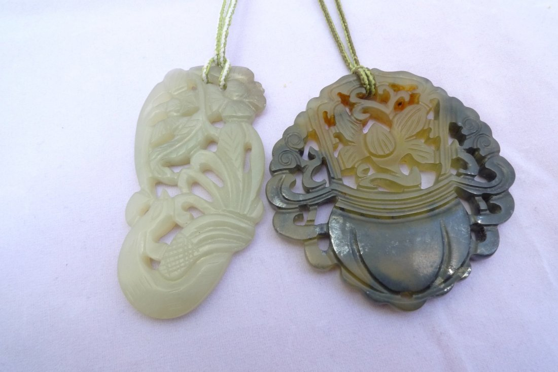 Pair of Chinese Carved Celadon Jade Pendant