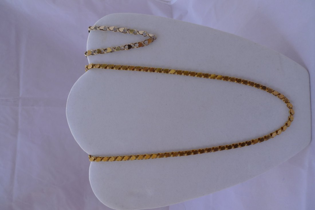 Set of 14K Yellow Gold Heart Nacklace and Bracelet 23g