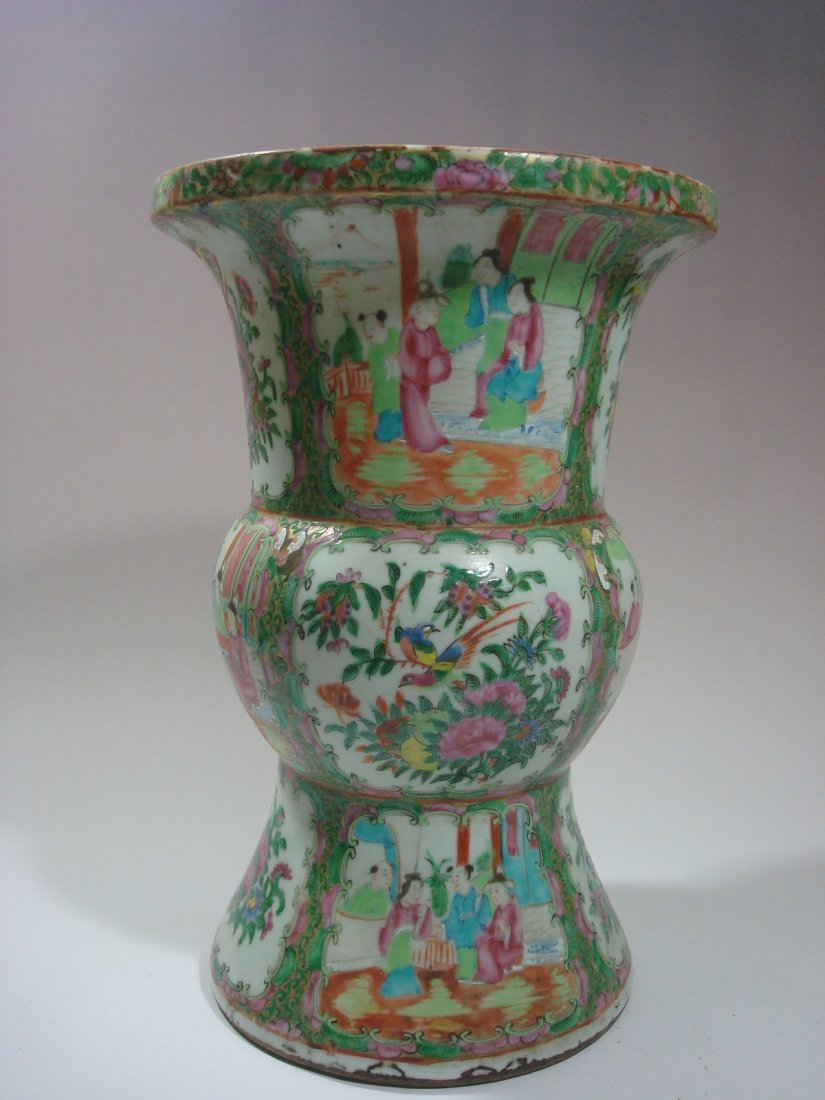 Antique Chinese Rose Medallion Gu vase, 19th C
