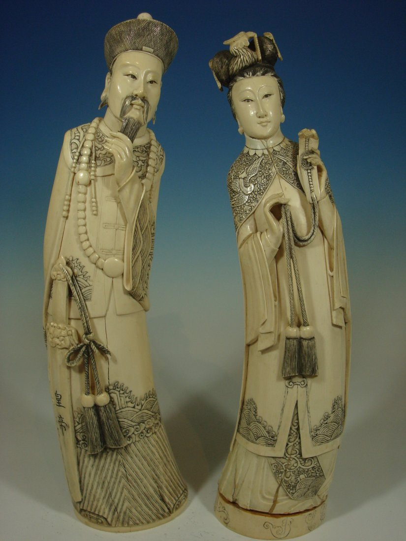 Antique Chinese Large Pair Ivory Figurines Late19th C