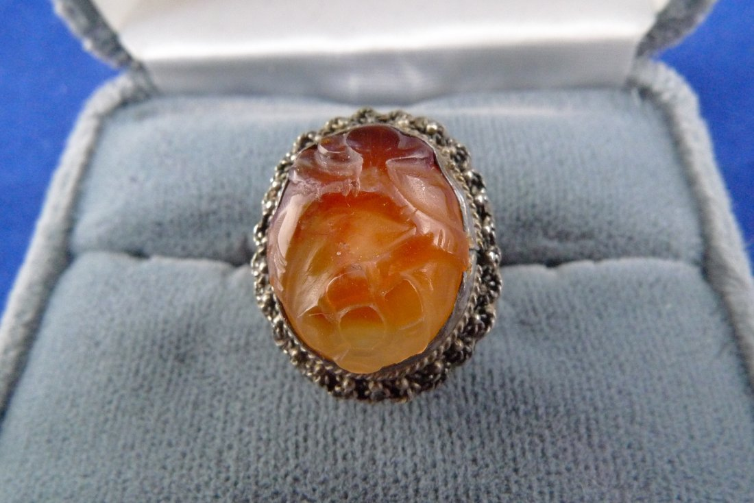Antique Chinese Carved Agate Sterling Silver Ring Mark