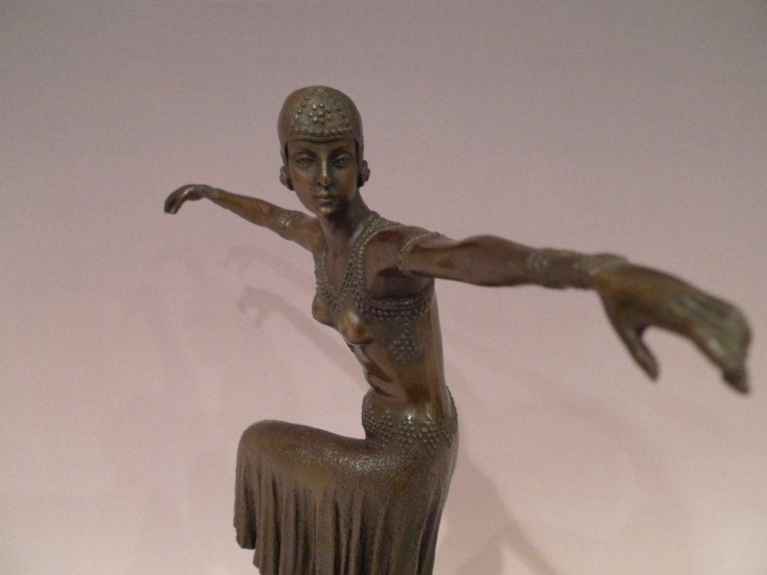 """FRENCH ART DECO BRONZE DANCER SCULPTURE SIGNED """"NOEE"""" - 10"""