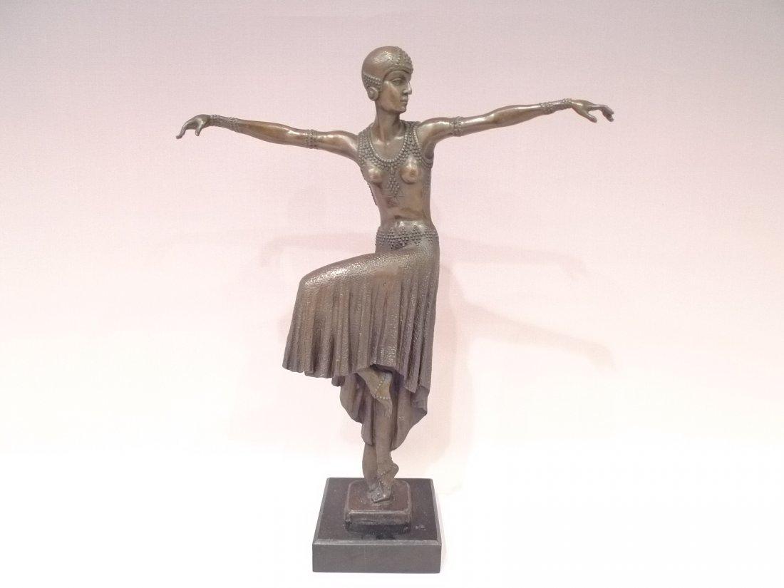 """FRENCH ART DECO BRONZE DANCER SCULPTURE SIGNED """"NOEE"""""""