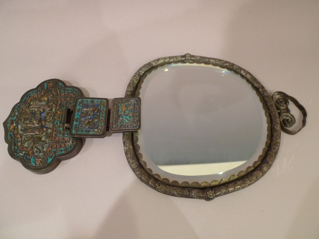 CHINESE ENAMEL SILVER AND BRONZE WALL MIRROR W/ DRAGON