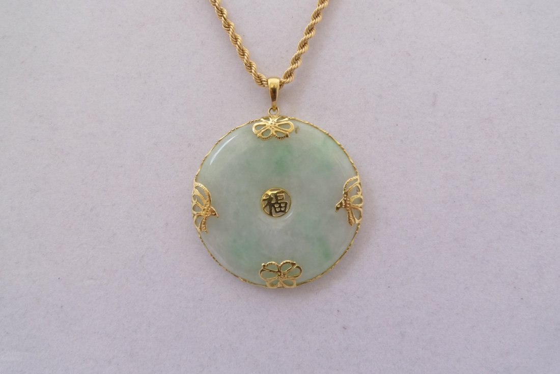 14K Yellow Gold Chinese Jadeite Pendant Necklace 26.1g