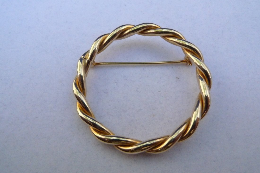 14K Yellow Gold Twisted Rope Pin 3.8g