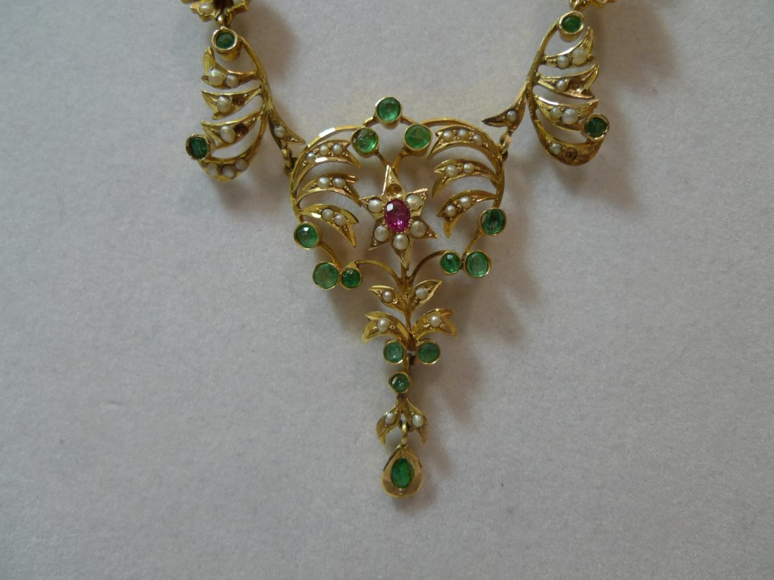 ANTIQUE 14K GOLD REAL EMERALD RUBY PEARLS NECKLACE 17G