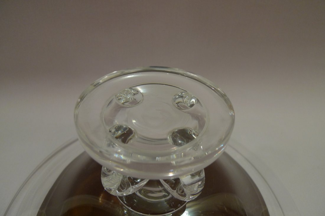 LARGE STEUBEN CRYSTAL GLASS FOOTED BOWL CENTERPIECE - 10