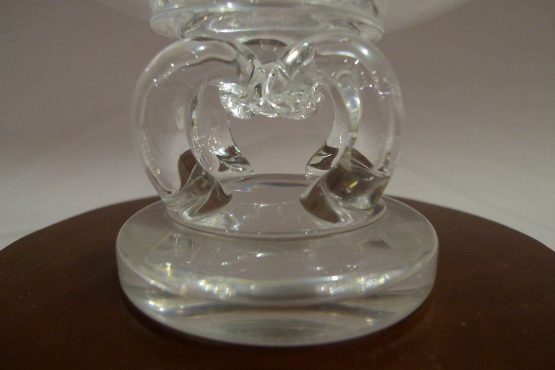 LARGE STEUBEN CRYSTAL GLASS FOOTED BOWL CENTERPIECE - 4