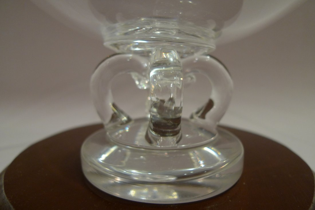 LARGE STEUBEN CRYSTAL GLASS FOOTED BOWL CENTERPIECE - 5
