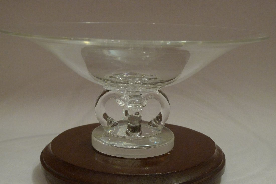 LARGE STEUBEN CRYSTAL GLASS FOOTED BOWL CENTERPIECE - 8