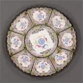 Antique Chinese enamel 9-piece condiment dishes set