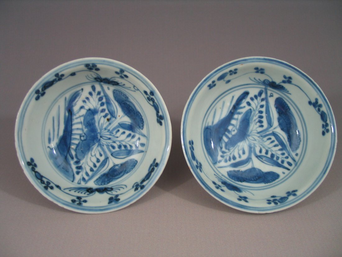 A Pair of Antique Chinese Blue and White Porcelain