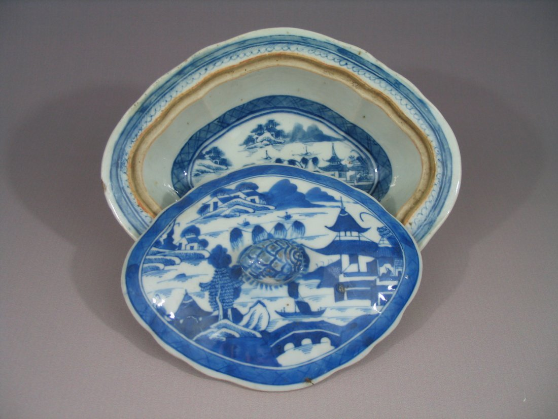 Antique Chinese Blue and White Canton Porcelain Dish