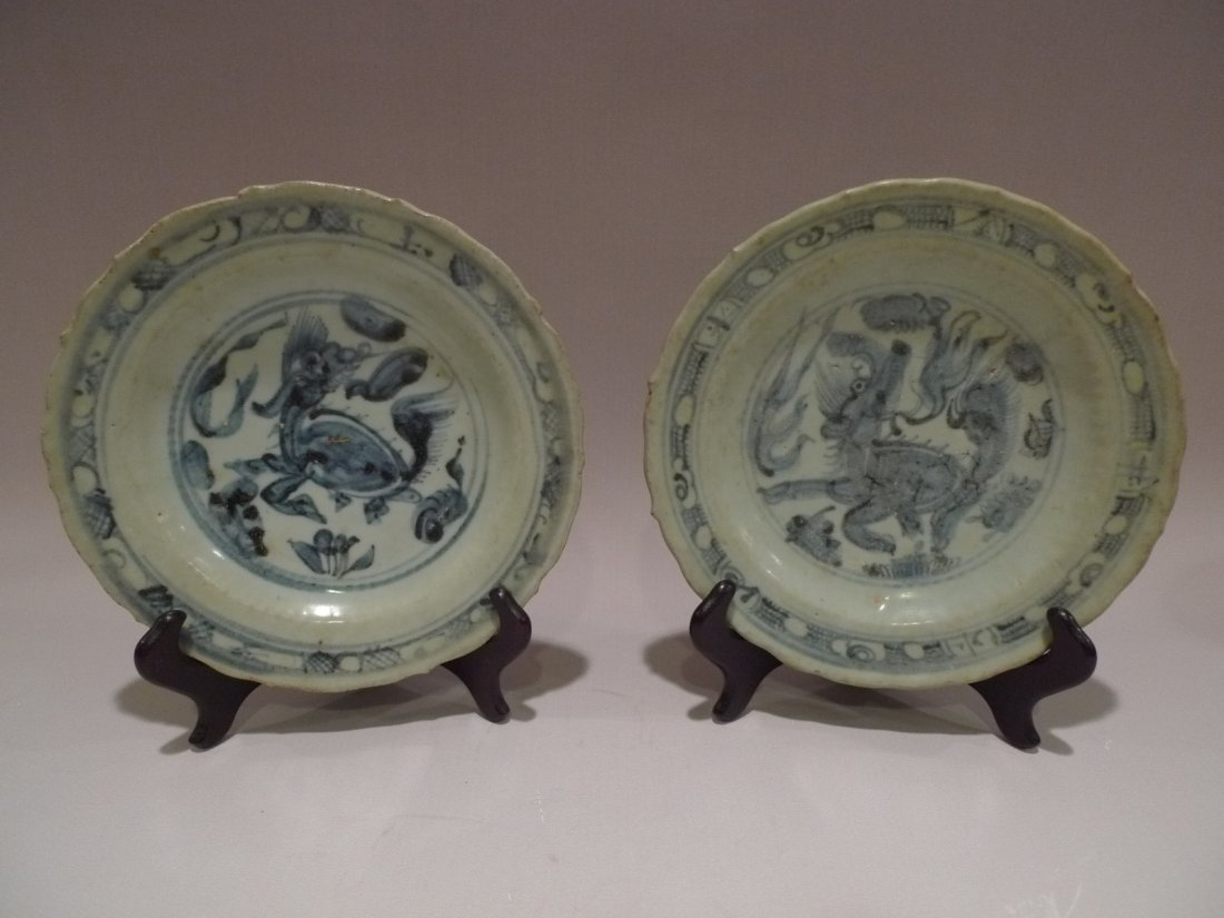 PAIR OF CHINESE BLUE & WHITE PORCELAIN PLATE MING