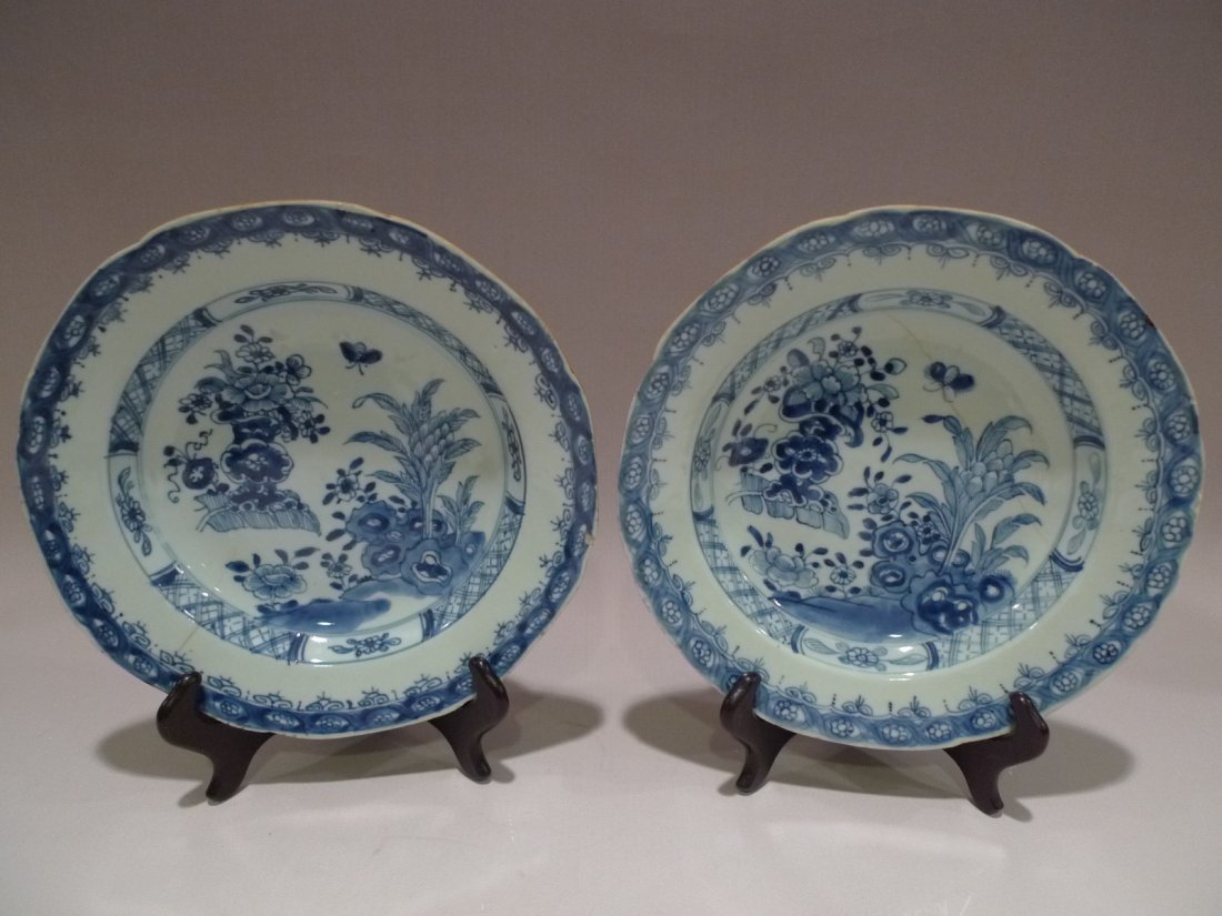 PAIR OF CHINESE BLUE & WHITE PORCELAIN PLATE QIANLONG