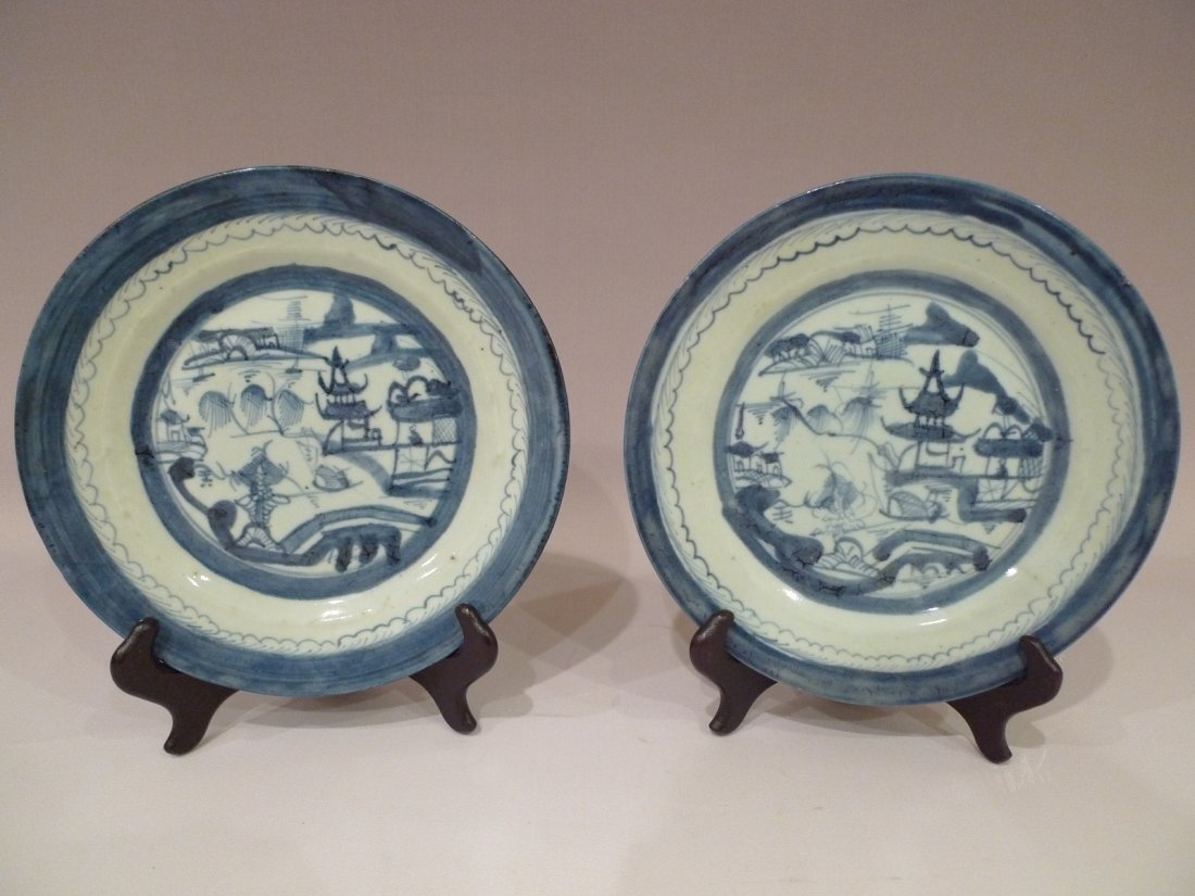 PAIR OF CHINESE BLUE AND WHITE PORCELAIN PLATES 19th C