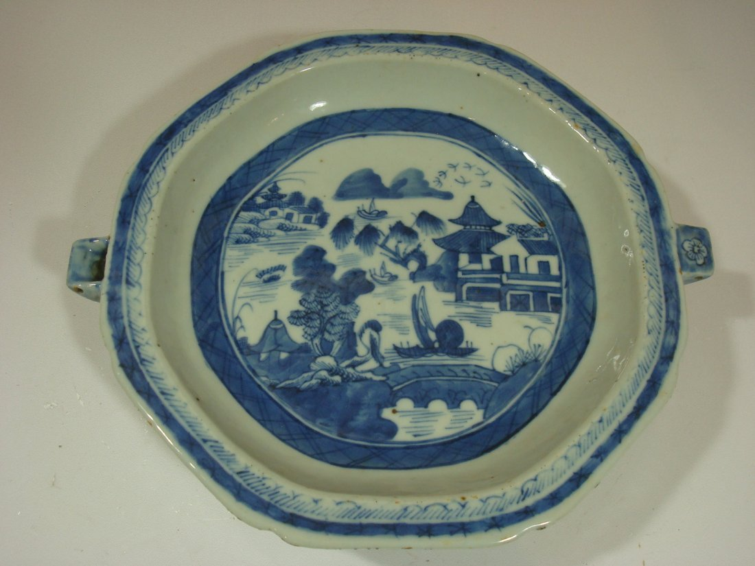 """Antique Chinese Blue and White Deep Warming Plate 10"""""""