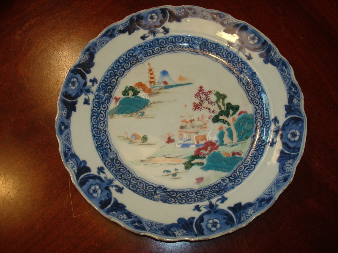 """Antique Chinese Blue and White Famille Rose Plate 9"""""""