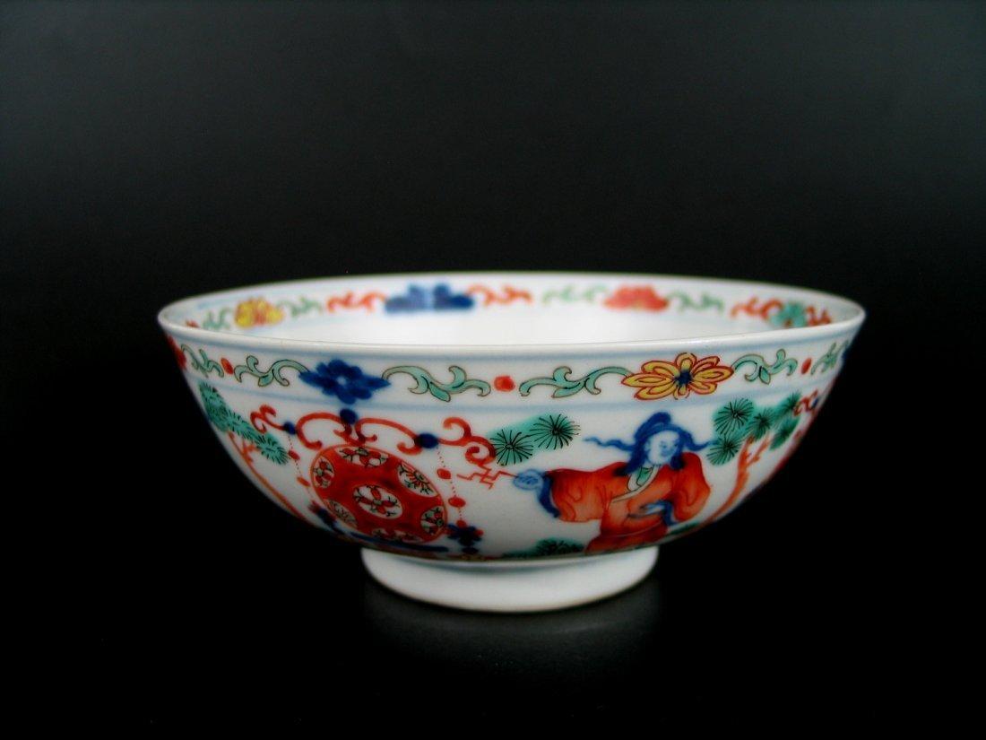 Antique Chinese Wucai Porcelain Bowl, Wanli Mark