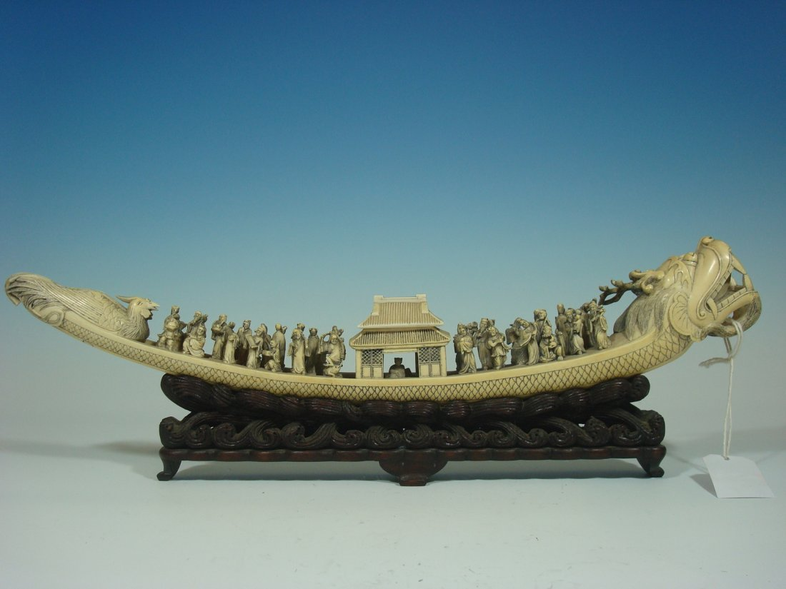 """Antique Chinese Ivory Dragon Boat with Figurines 19"""" L,"""