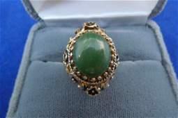 14K Yellow Gold Jade Cabochon Ring 8.4g