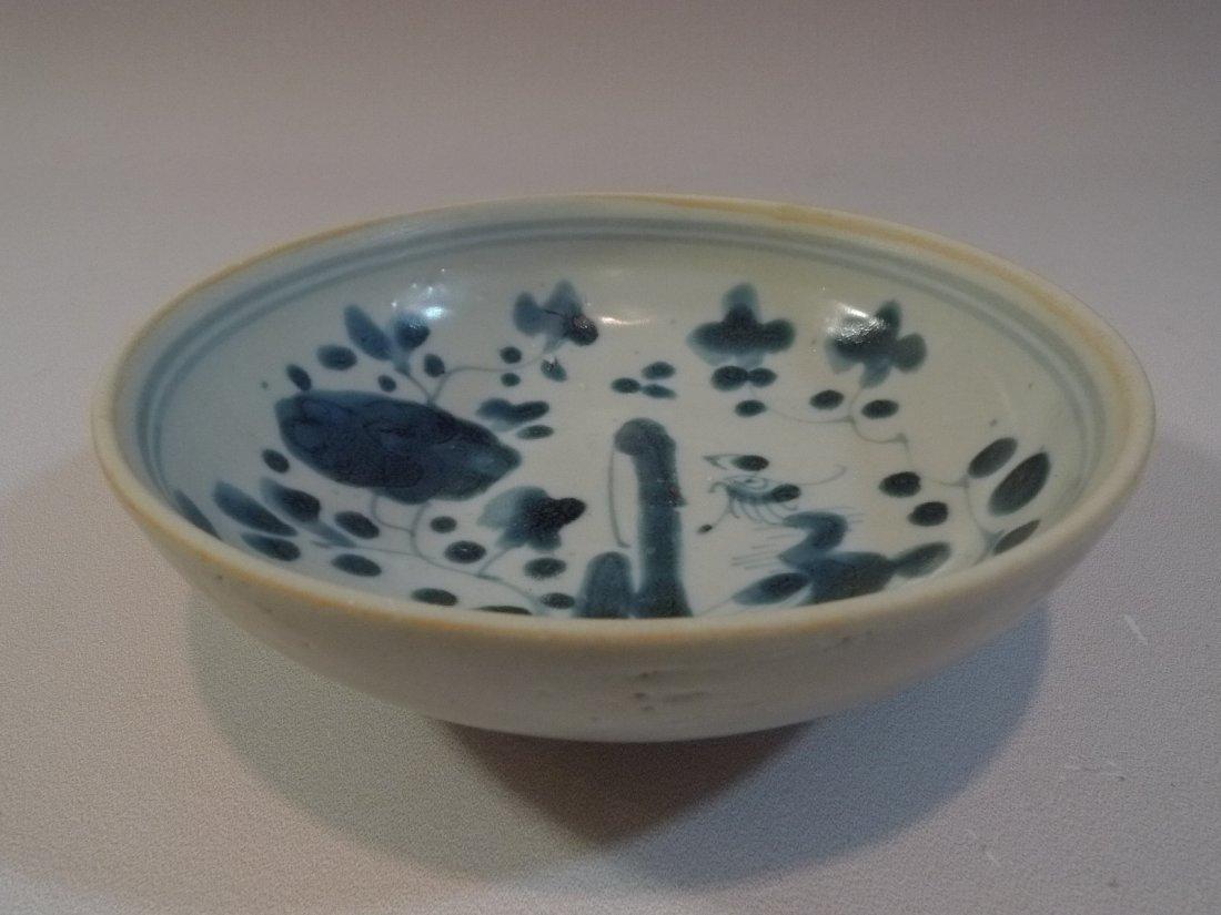 MING CHINESE ANTIQUE BLUE & WHITE PORCELAIN BOWL