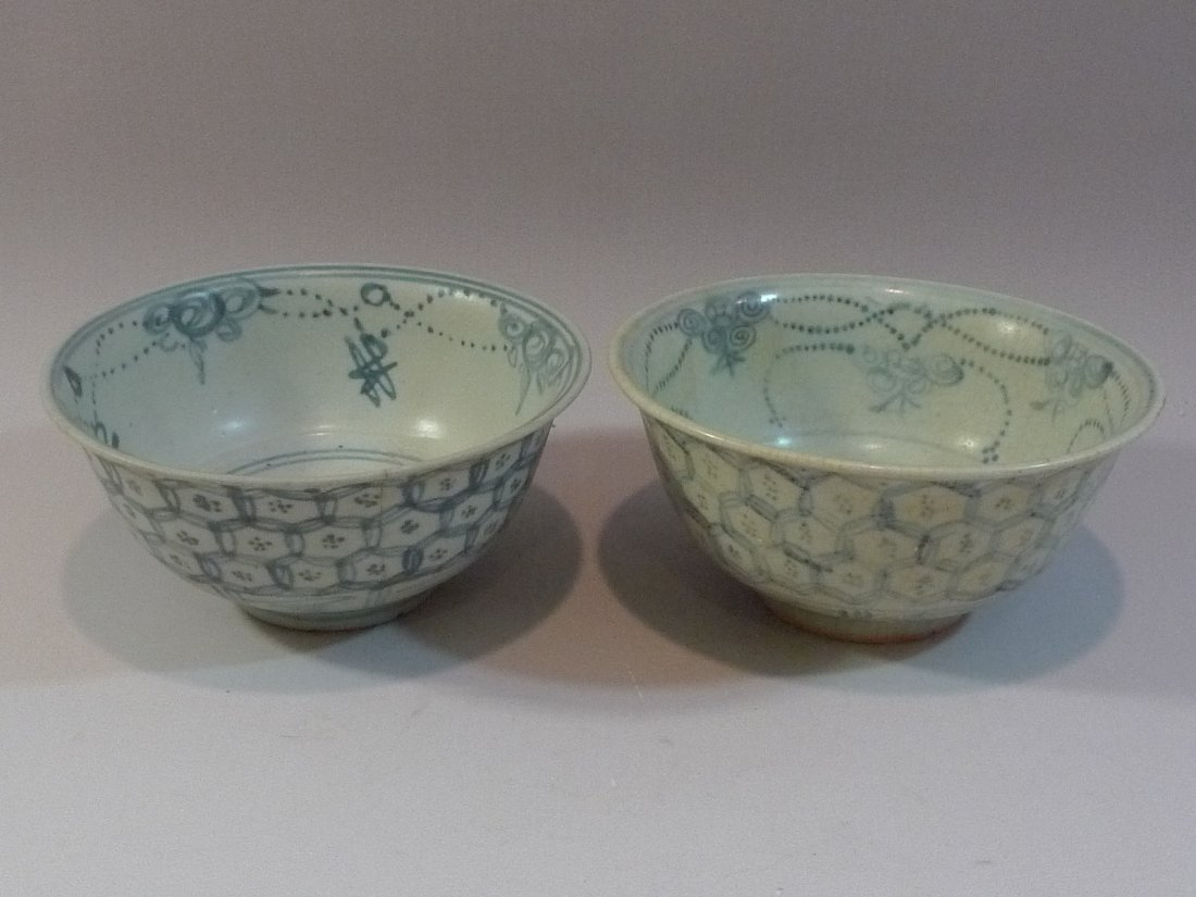 PAIR CHINESE ANTIQUE BLUE & WHITE BOWL MING DYNASTY