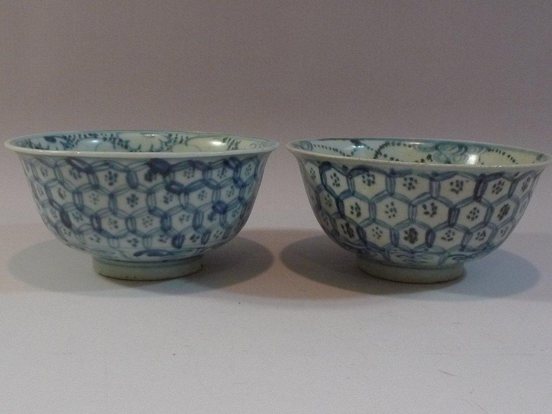 PAIR CHINESE ANTIQUE BLUE & WHITE PORCELAIN BOWL MING
