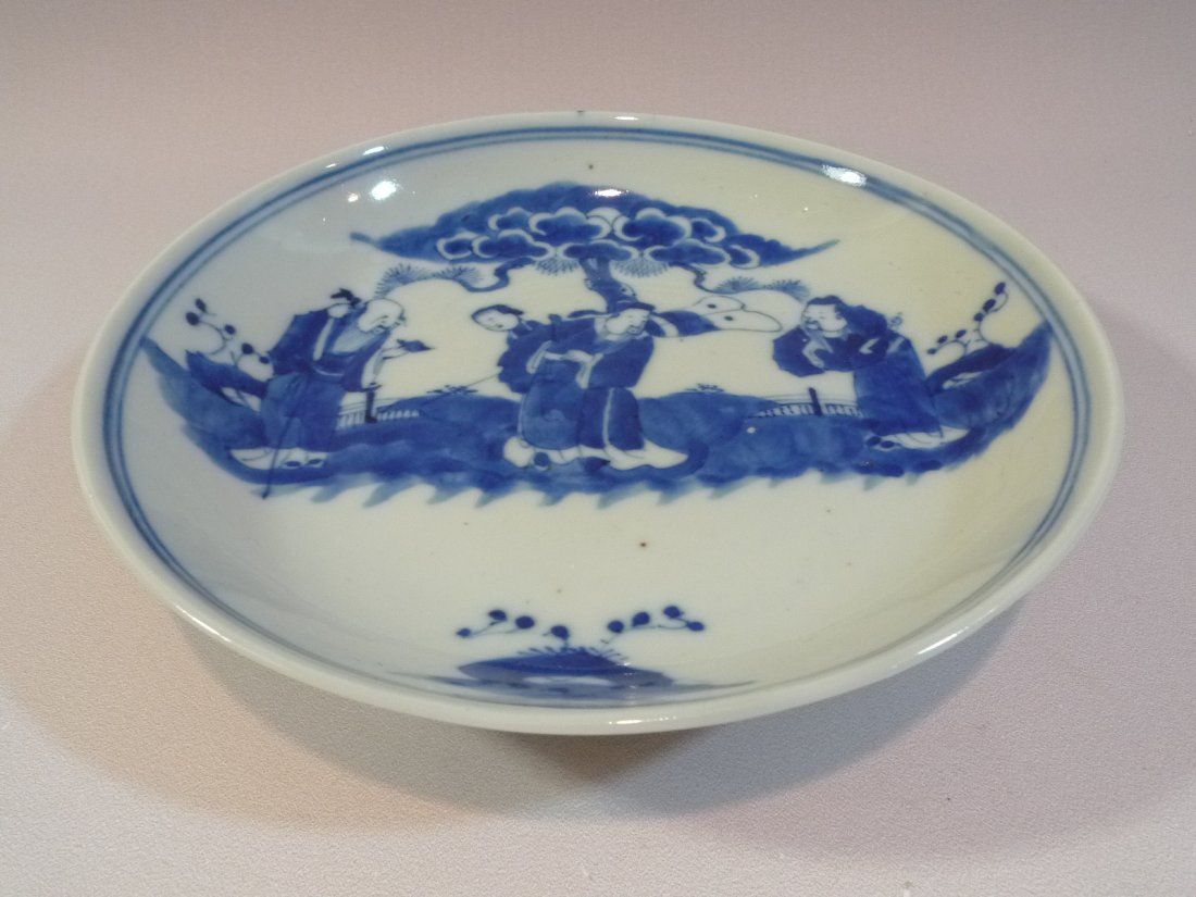 ANTIQUE CHINESE BLUE & WHITE PORCELAIN PLATE KANGXI