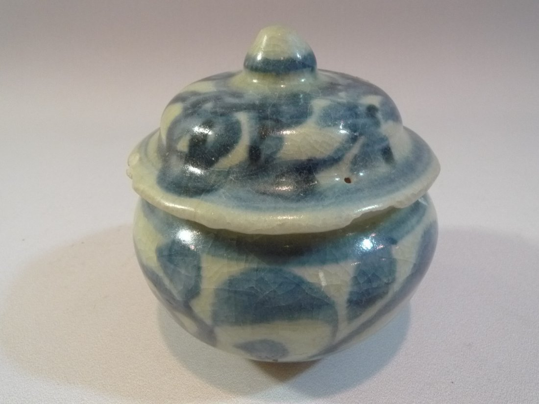 ANTIQUE CHINESE BLUE & WHITE PORCELAIN COVER JAR MING