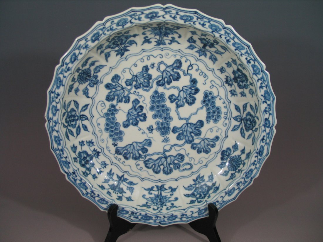 Chinese blue and white porcelain charger, Ming mark.