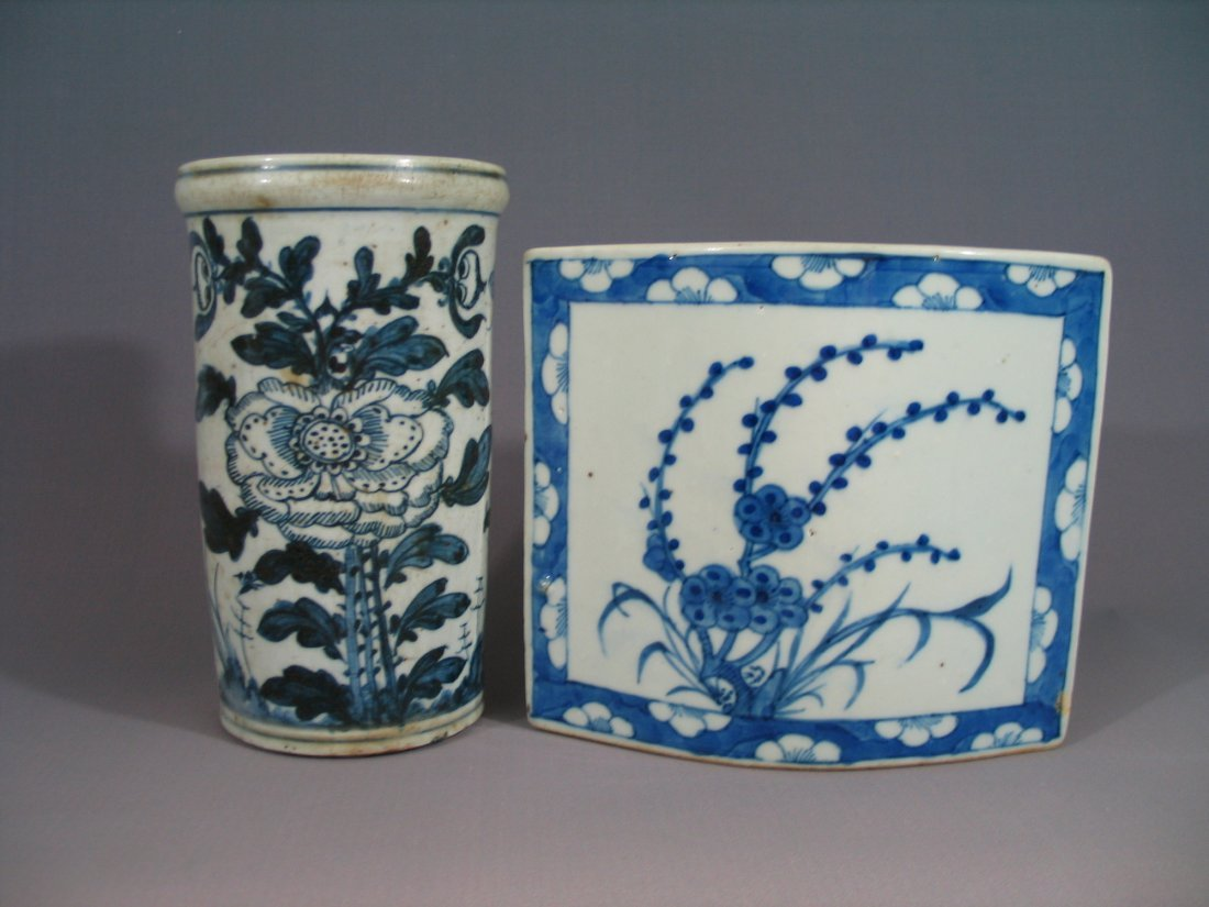 Two Chinese blue and white chopstick holders