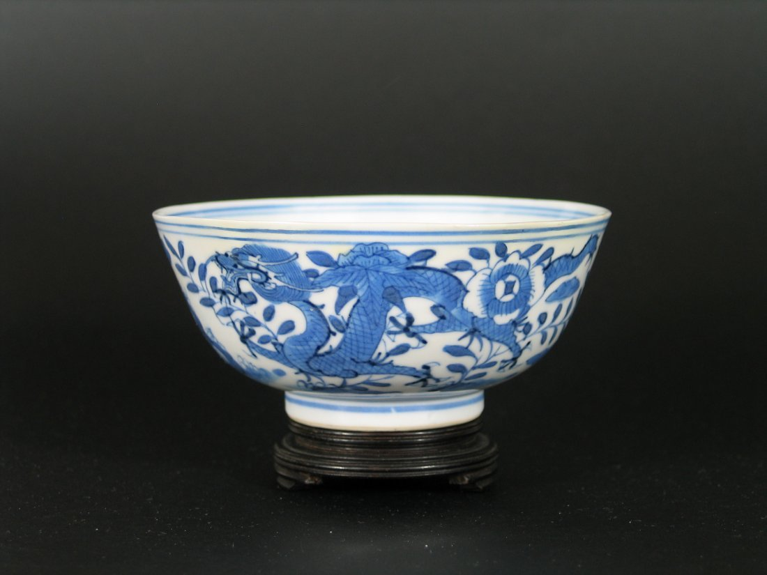 Chinese Blue and White Porcelain Dragon Bowl, Qianlong