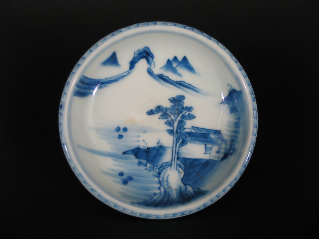 Antique Chinese Blue and White Porcelain Dish, Marked.