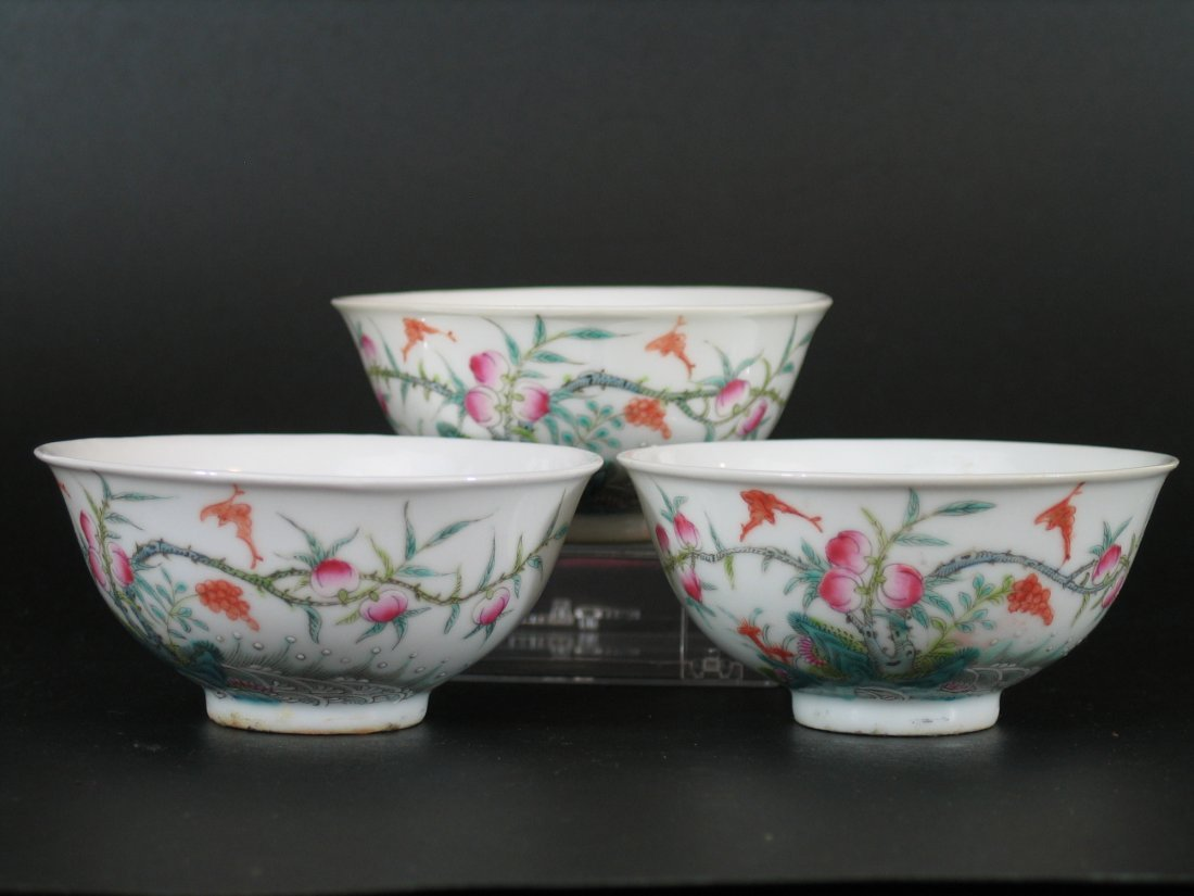 Three Antique Chinese Famille Rose Porcelain Bowls,