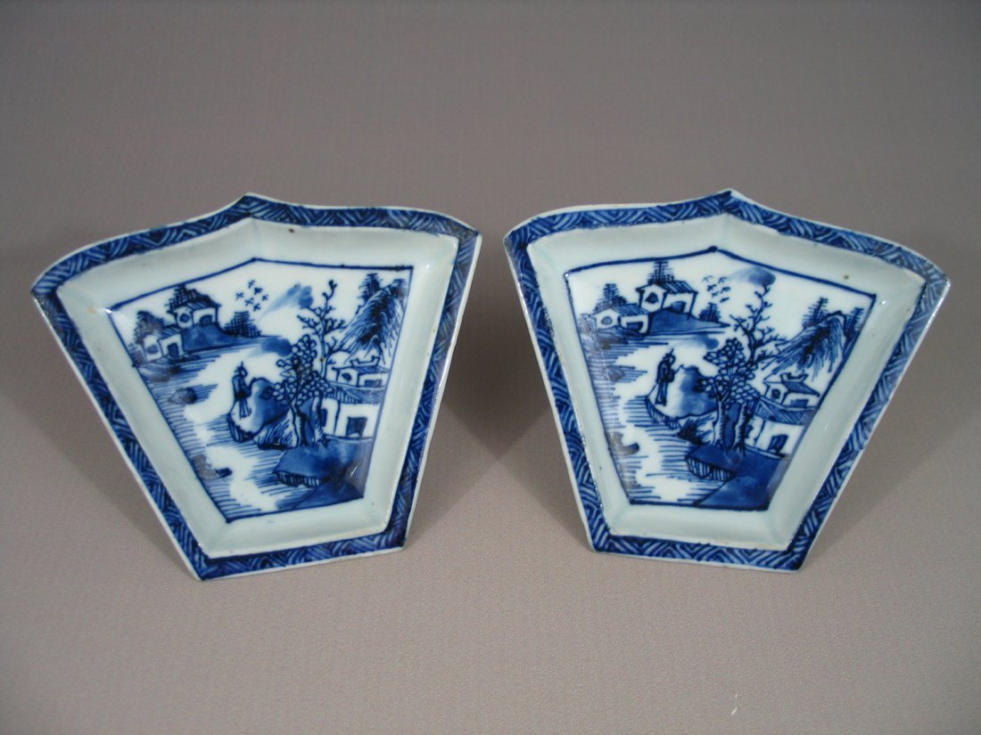 Pair of Chinese Blue and White Porcelain Condiment