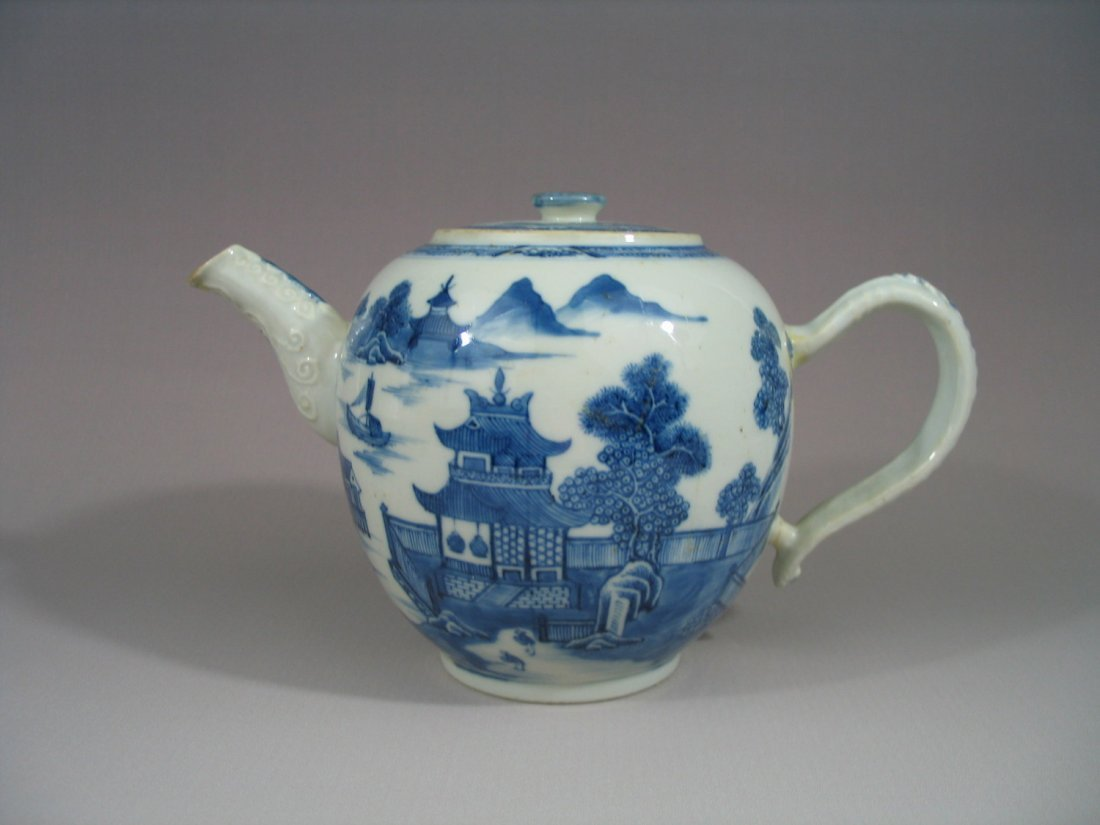 Antique Chinese Export Porcelain Blue and White Teapot