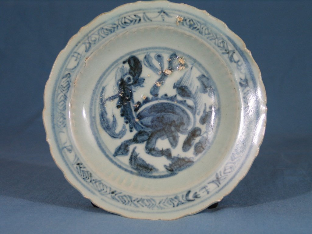 Antique Chinese Blue and White Porcelain Dish, Ming