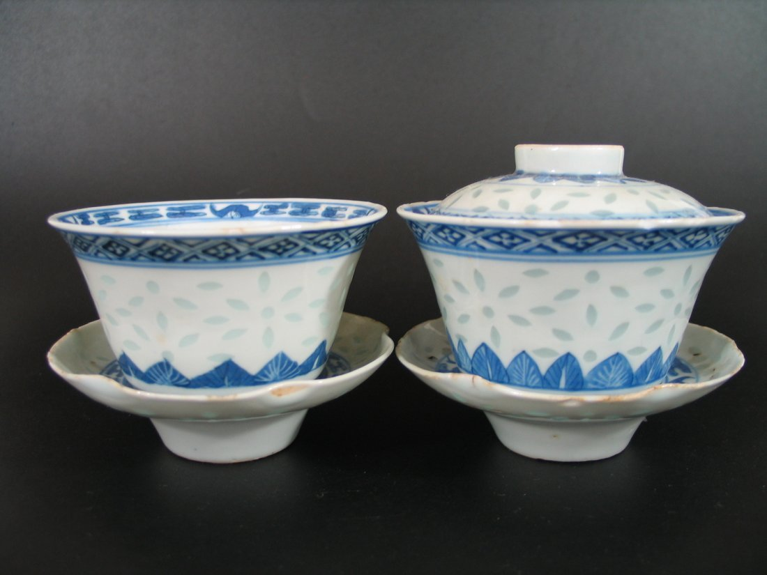 Pair of Antique Chinese Blue and White Porcelain Cups,