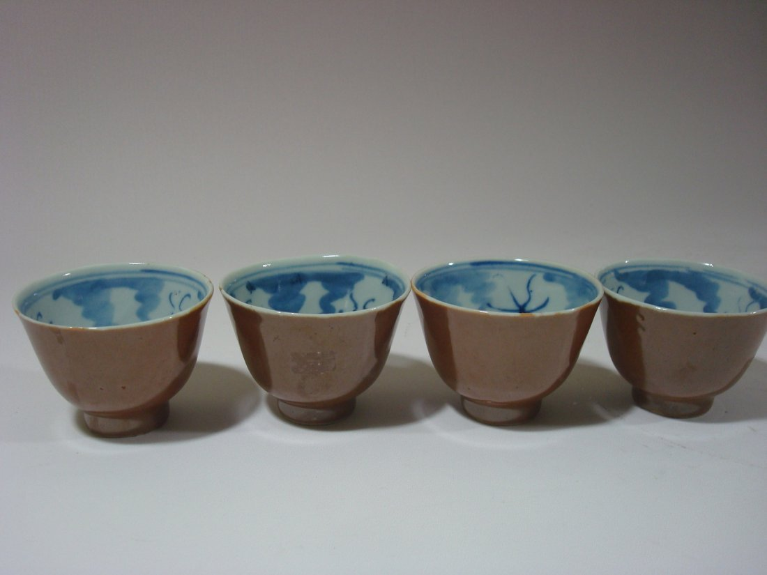 Antique Chinese 2 pairs of Blue and White Tea BOWLs